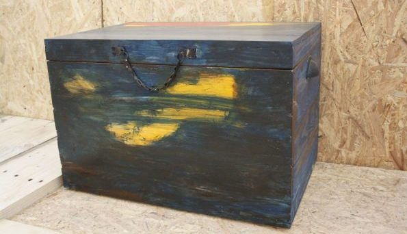 Rustic storage trunk, home decor