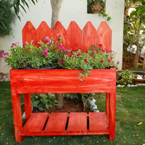 Red picket fence planter